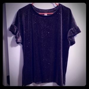 Dark gray glitter velvet top